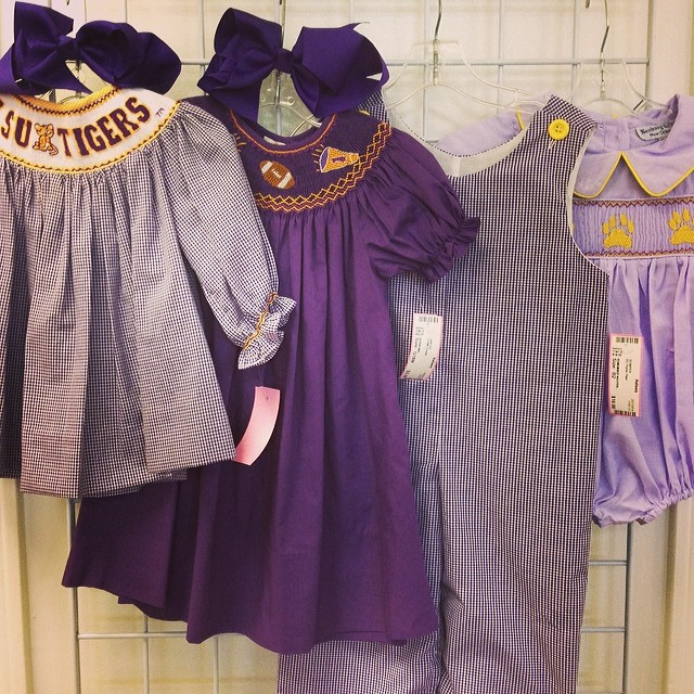 25% Off All Clothing Today-Saturday!#purpleandgold #lsu #smocked #remembernguyen #banburycross#rosalina#batonrougeboutique #batonrougeresale #225