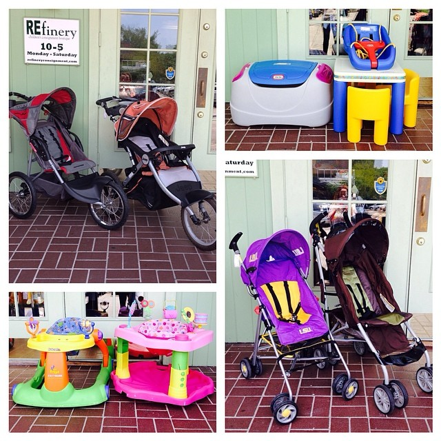 Just A Few Of The Hundreds Of Items We Bought Today!#purpleandgold #lsustroller#exersaucer#walker#littletikes#toybox#kidsfurniture#225 #graco #resale #sellbabystuff