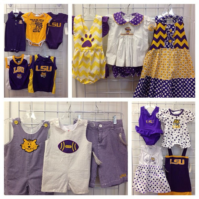 Check out these LSU cuties!#refinerykids #225 #lsu #purpleandgold #batonrouge #consignment